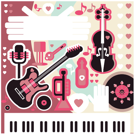 Abstract Music Background - vector illustration. Collage with musical instruments hearts and text space Stock Photo