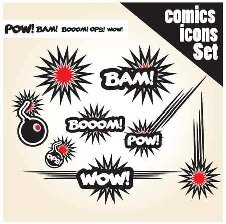 illustrated: comic book style bombs boom bam wow pow ops  explode