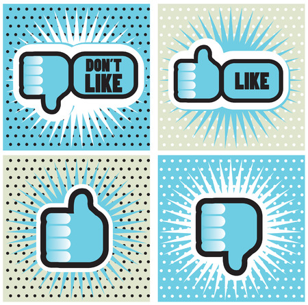 like button: Pop art Comic Book Style Banners with Thumbs up button - like button Thumbs down button - dont like button