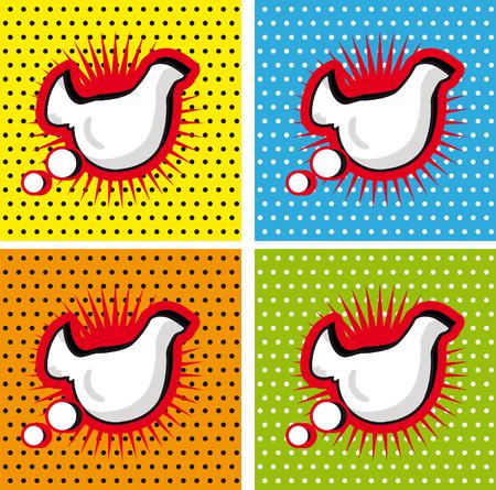 breast comic: Bird Chicken Speech Bubble in Pop-Art Style backgrounds set