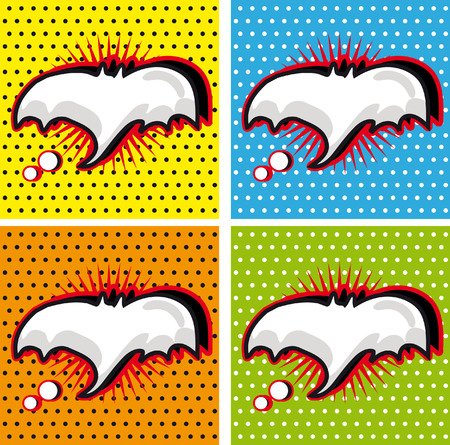 warhol: Bat Halloween Speech Bubble in Pop-Art Style backgrounds set
