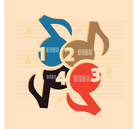 numbering: Retro numbers music design template. Vector Illustration