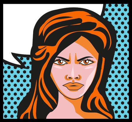 bad mood: Woman Retro comic book background Pop art Girl Portrait Angry Woman say. Bubble for text. Stock Photo