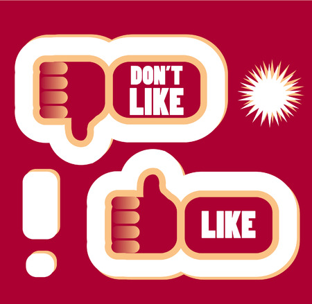 cool down: Icons illustration hand with thumb up and thumb down, sticker style, vector illustration