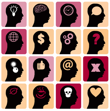 silhoutte: Vector Icons set head think silhoutte vector