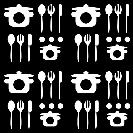 dinning table: monochromatic black white seamless cutlery pattern