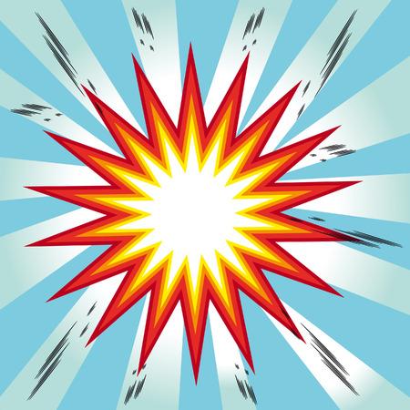 detonated: explosion comic book background Stock Photo