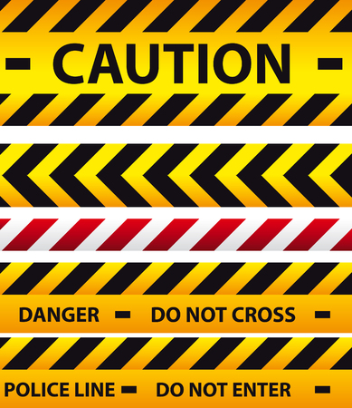 one lane street sign: Caution, danger, and police tape Stock Photo