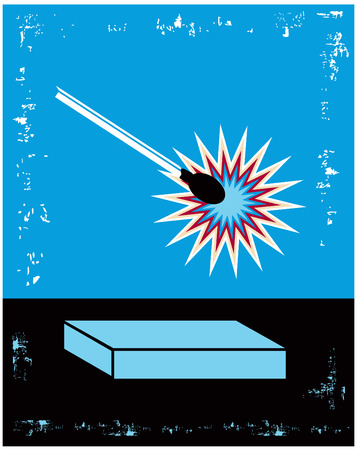 danger box: Danger Blue and Black Lit Match Poster with box and text place