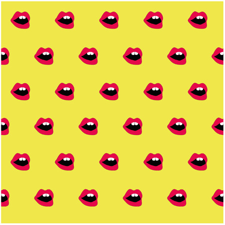 open mouth: Pop art lips background open mouth with teeth