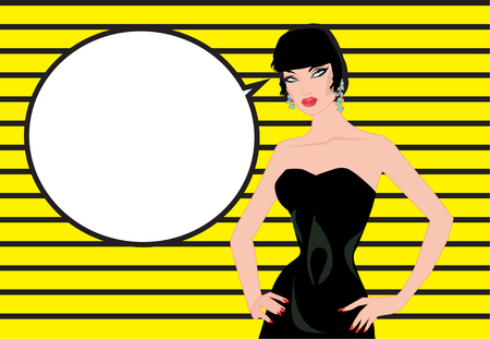 Pop art woman comics background Talking with speech bubble Vintage advertising poster. Stock Photo