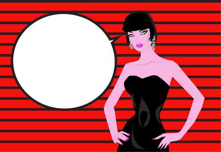 Pop-Art-Frau Comics Hintergrund mit Sprechblase Vintages Werbungsplakat Gespräch.