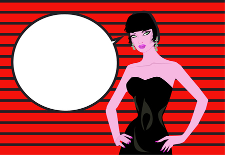 Pop art woman comics background Talking with speech bubble Vintage advertising poster. Stockfoto