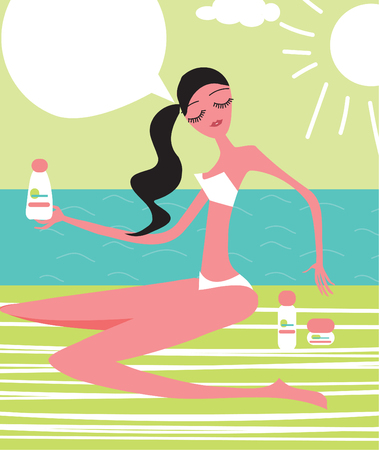 Young girl sunbathes on a beach and caring about her skin health Illustration