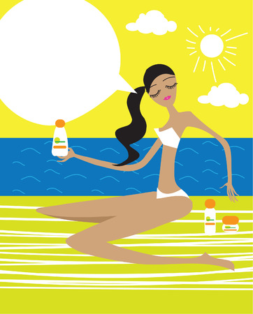 Woman With Suntan Lotion set At The Beach with speech bubble Vacation illustration Stock Photo