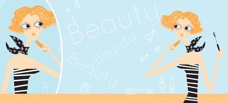 Young girl making makeup in bathroom. Woman take care about look. Looking into a mirror. Beauty make-up Illustration