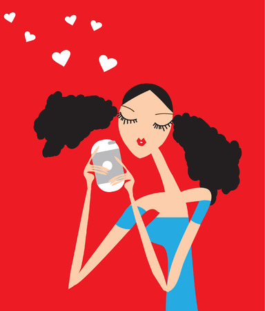 Young girl with smartphone fashion illustration