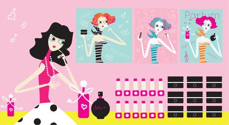 Woman Choosing cosmetic woman in the perfumery fashion illustration