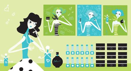 perfumery: Woman Choosing cosmetic woman in the perfumery fashion illustration