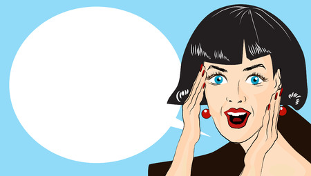 WOW bubble pop art. Surprised woman with opend mouth. Pop Art illustration of a woman with the speech bubble. Copyspace