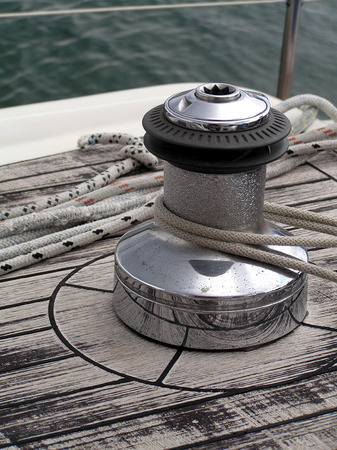 winch: Fragment of a rigging and ropes on a sports sailing yacht