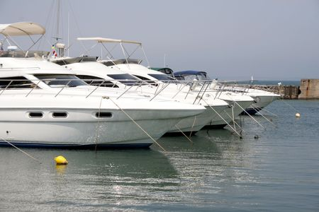 Parking of motor yachts Stock Photo