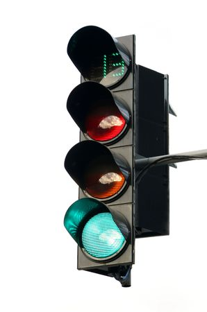 The traffic light on a white background shows a green signal duration thirteen seconds Stock Photo - 3340347