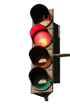 The traffic light on a white background Stock Photo - 3518427
