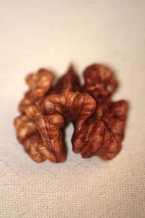 Half of a kernel of a walnut Stock Photo