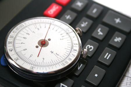 Unique retro round slide rule and calculator