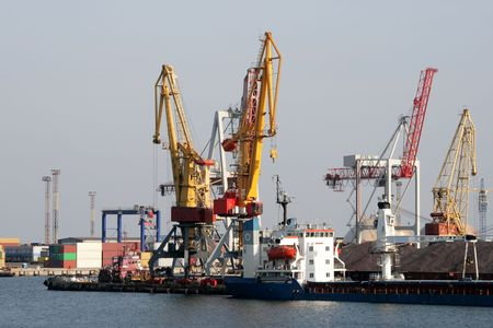 dry-cargo ship at a mooring of trading port