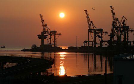 Dawn in trading port