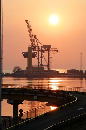 Sunset in trading port