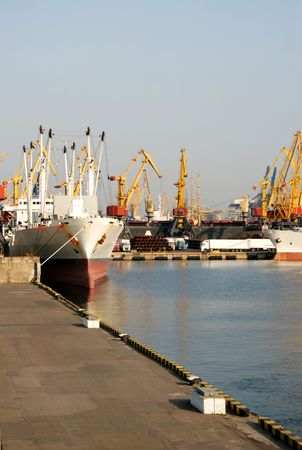 Dry-cargo ships at a mooring in port