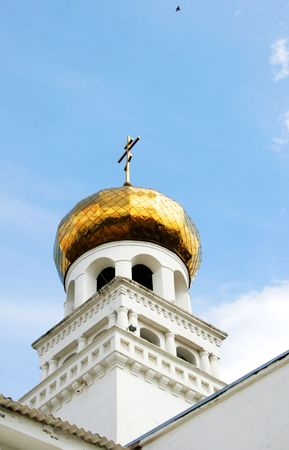 The gilt dome of an orthodox temple