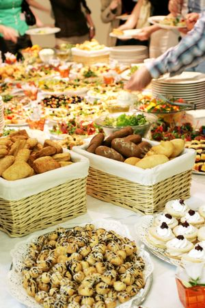 the buffet table full of snacks Stock Photo