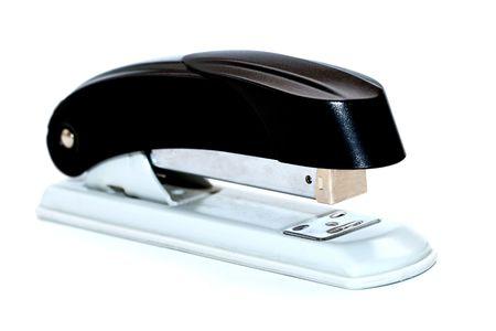 black stapler isolated on a white background     Stock Photo