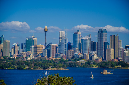 downunder: View from Taronga Zoo at the Central Business District Sydney.