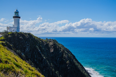 byron: Historical lighthouse at Byron Bay, Australia. Stock Photo