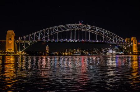 lightbeam: The harbour bridge at night. Stock Photo