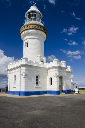 byron: Historical lighthouse at Cape Byron, near Byron Bay. Stock Photo
