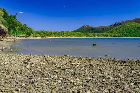 lonesomeness: Beautiful beach in tropical Queensland. Stock Photo
