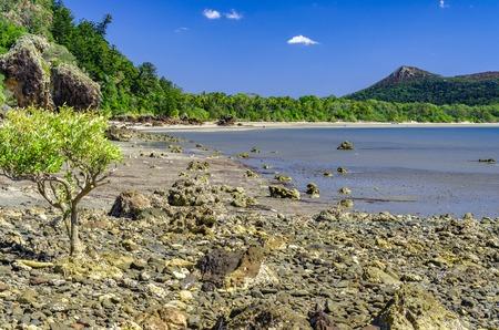 lonesomeness: Rocky beach in the Cape Hillsborogh National Park. Stock Photo