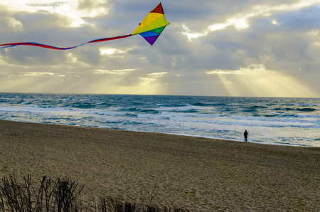 flying kites: The perfect weather for flying kites.
