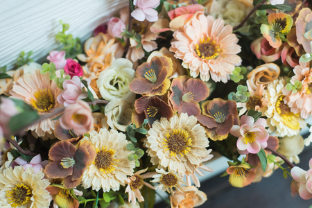 The background of the vintage beautiful flowers in colorful Stock Photo