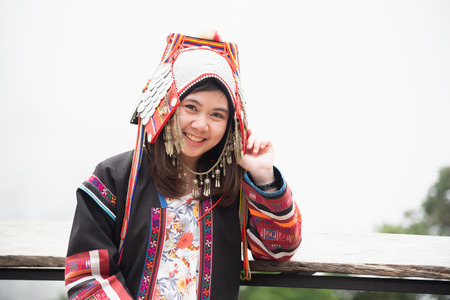 portrait mhong hill tribe woman on the mountain Banco de Imagens