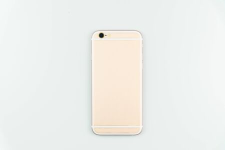 back side of mobile phone isolated on white background