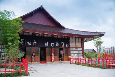 08 November 2019, Hinoki land (Bann Mai Hom Hinoki) constitute Modern of Japan architecture in Chaiprakarn district Chiang Mai province, Thailand, November 08, 2019