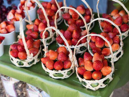 Close up of strawberry on the basket Banco de Imagens