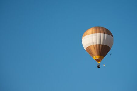 Balloon flying and blue sky background